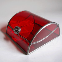 Stained glass jewelry box - red  | 1178designs - Housewares on ArtFire