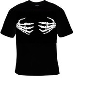 Tshirt skeleton hands boobs boobies bones T-shirts shirt
