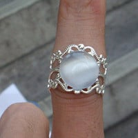 White Opal Ring With Rhodium Plated Filigree by qizhouhuang