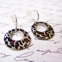 Vintage Dainty Silver Tone Metal Leopard Print Disc Earrings / Gift for Her / E338