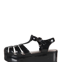 Platform Jelly Sandals - Black