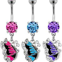 BUTTERFLY BELLY RING WITH CLEAR GEMS BLUE