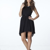 Hi-Lo Black Chiffon Dress