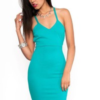 Seafoam Strappy Cutout Bodycon Dress