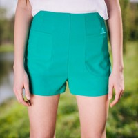 Spring Greening Emerald Green High Waisted Shorts - Lotus Boutique