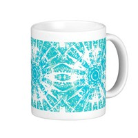 Teal Starburst Print Coffee Cup
