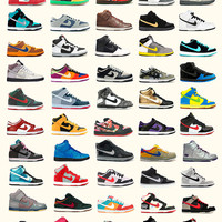 Nike Poster - Nike Dunks - Shoe Poster - Fashion Poster - Nike Sneakers
