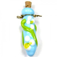 Sky Blue Lampwork Bead Wire Wrapped Pendant With White Flowers | Covergirlbeads - Jewelry on ArtFire
