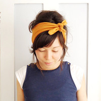 Tie Up Headscarf Mustard by ChiChiDee on Etsy