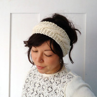 Cream Cable Knit Headband by ChiChiDee on Etsy