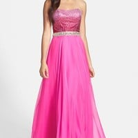 Sherri Hill Strapless Beaded Bodice Gown | Nordstrom