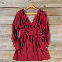 Midnight Sage Dress in Burgundy