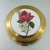 Vintage Red Rose on Porcelain Art Deco Compact.