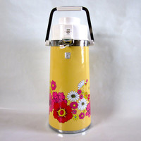Yellow Floral Vintage King Airpot with Red, Pink, and White Flowers