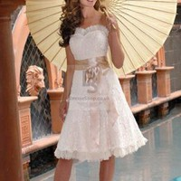 A-line Sweetheart Sleeveless Zipper Lace Embroidery Knee-length Dress at Dresseshop