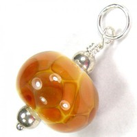 Butterscotch Lampwork Glass Bead And Sterling Silver Charm Pendant | Covergirlbeads - Jewelry on ArtFire