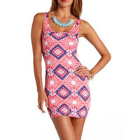 CAGE-BACK AZTEC PRINT BODYCON DRESS