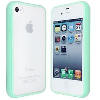 niceeshop(TM) Light Green TPU Frames PC Back Hard Coating Bumper Protective Skin Case Cover For iPhone 4 4s +Screen Protector