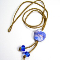 Brown Adjustable Leather Necklace With Blue And White Lampwork Bead | Covergirlbeads - Jewelry on ArtFire