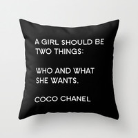 Velveteen Pillow - Coco Chanel - Quotes - A Girl Should Be Two Things - Typography - Fashion Pillow - Art Deco Decor - Pillow Quote - Black