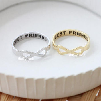 infinity best friends ring, brushed