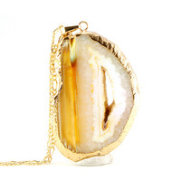 White & Yellow - Natural Agate Slice Druzy Pendant Necklace- ASN27 - Agate Slice Necklace