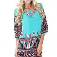 Teal Tribal Shift Dress