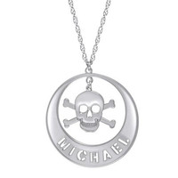 Skull Name Pendant in Sterling Silver (8 Letters) - Personalized Necklaces - Shared - Zales