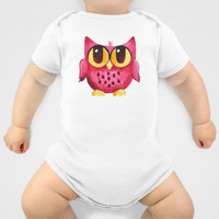 Pink Owl on Green Onesuit by nJoyArt