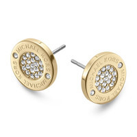 Michael Kors Logo Pave Stud Earrings, Golden