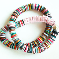 Ethnic inspired long multicolor polymer clay necklace