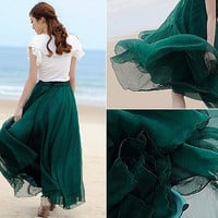 Jade Green Chiffon skirt Maxi Skirt Long Skirt Maxi Dress Silk chiffon dress Women Silk Skirt Beach Skirt plus size dress Pleat skirt