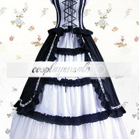 White And Black Cuff Sleeves Bandage Ruffled Cotton Classic Lolita Dress [T110123] - $77.00 : Cosplay, Cosplay Costumes, Lolita Dress, Sweet Lolita