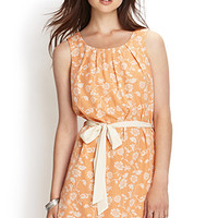 LOVE 21 Floral Woven Shift Dress Peach/Cream Small