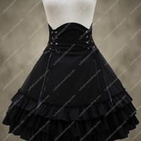 High Waist Black Flouncing Lolita Skirt