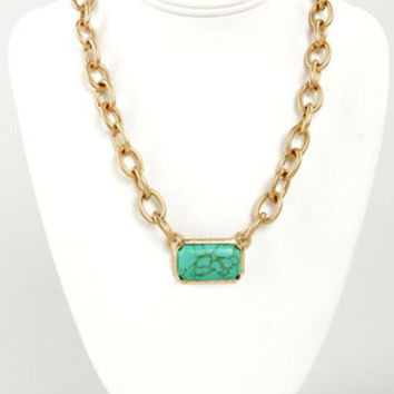 Ingot Bergman Gold and Green Necklace