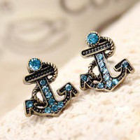 Vintage Rhinestone Anchor Stud Earrings at Online Jewelry Store Gofavor