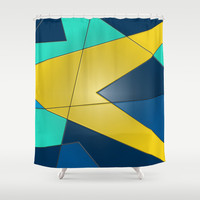 Yellow and Blue Shower Curtain by DuckyB (Brandi)