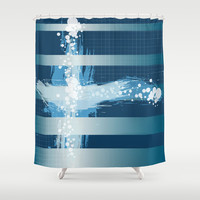 Oceanside Shower Curtain by Ramon Martinez Jr