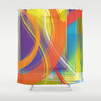 Abstract 128 Shower Curtain by Ramon Martinez Jr
