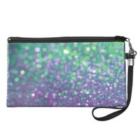 Purple and Teal Glitter Sparkle Print Wristlet
