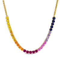 Lab-Created Multi-Gemstone Necklace in Sterling Silver with 18K Gold Plate - View All Necklaces - Zales
