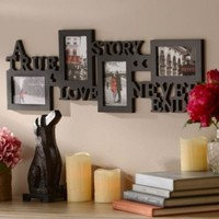 A True Love Story Never Ends 4 Picture Opening 4x6 Black Collage Photo Frame V-day Wedding Anniversary Newlywed Gift