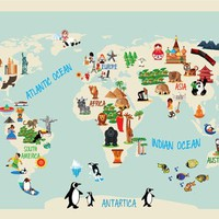 World Map Kids - Moon Wall Stickers