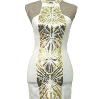 Midnight Masquerade Dress - White + Gold | Daily Chic