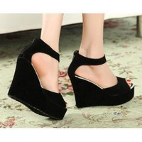 Wholesale Peep toe high-heeled Korea sandals BOHO platform sandals CZ-0726 black - Lovely Fashion