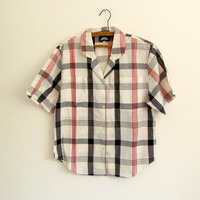 Red black white plaid blouse - 80s vintage check shirt - short sleeve - button down - small / medium
