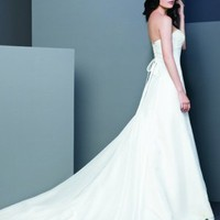 Empire Sweet Heart Chiffon Chapel Train Wedding Dress - Basadress.com