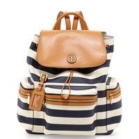 Kerrington Striped Backpack, Blue/White