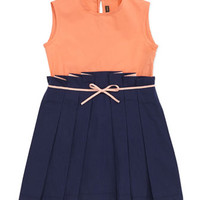 Sleeveless Colorblock Combo Dress, Navy, 6-8